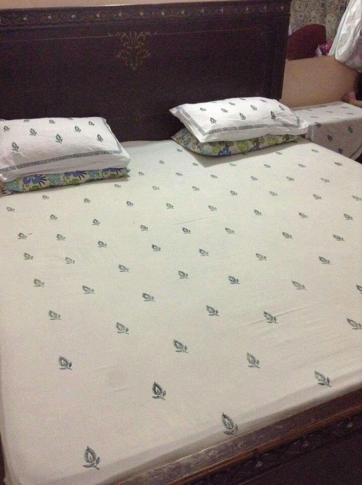 Bed sheet in block print