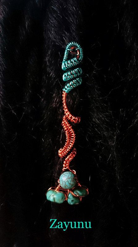 Turquoise cluster dreadlock cuff-remake by ZAYUNU on Etsy