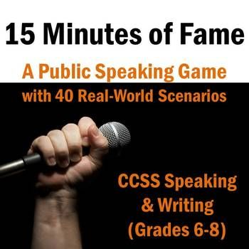 $- Fun speaking game - students draw a real-world scenario out of a hat and write/ present a mini-speech imitating it! Analyze purpose, audience, and genre in a fun way.