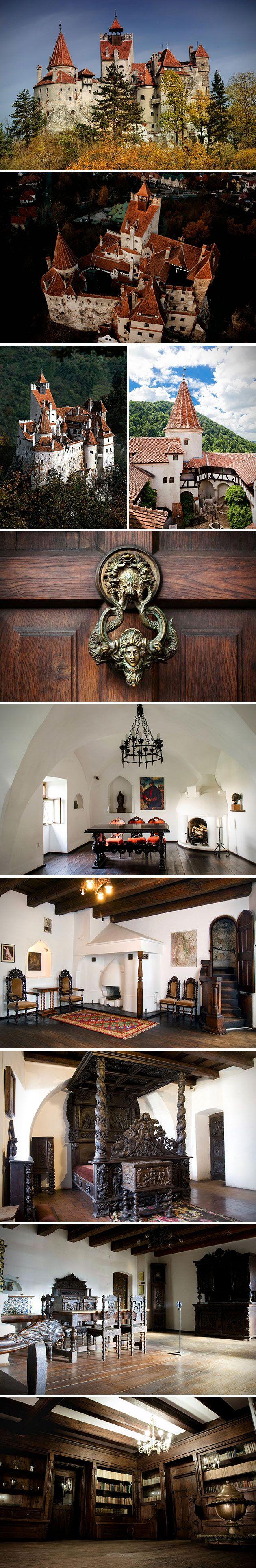 Mirada rara dentro del castillo de Bran, el castillo real de Dracula en Transilvania, Rumania.