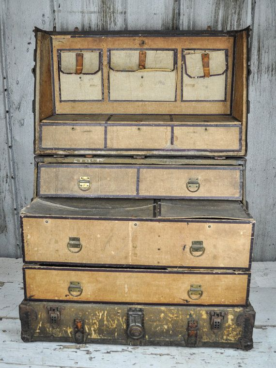 Rare Early 1900 39 S Decor Straight Back Dresser Trunk By