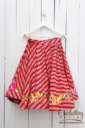 ME0107.1891 Gladiol Embroidery Batik Skirt -S