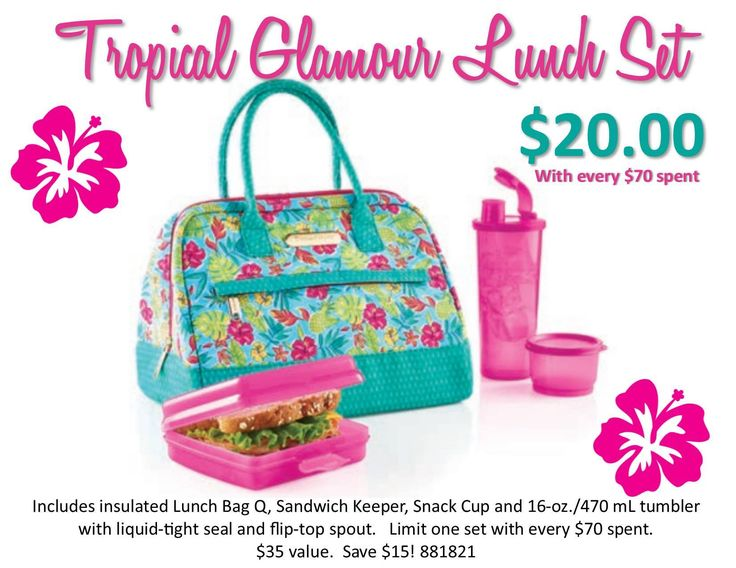 Tropical Glamour Lunch Set is only $20 when you spend just $70.   Available:  July 9 - August 12