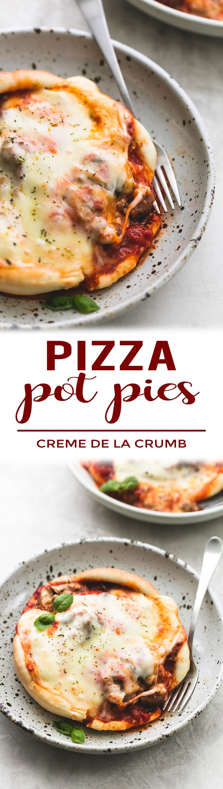 This tasty recipe is a fun and unique twist on 30-Minute Stuffed Crust Pizza! These personal sized pizza pot pies are an easy must-make for pizza lovers! | lecremedelacrumb.com