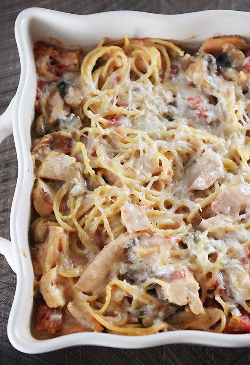 Baked Garlic and Fontina Spaghetti + Valentine's Mailbox   Mel's Kitchen Cafe