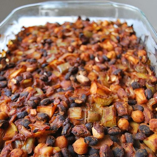 smoky barbeque baked bean casserole #vegan