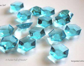 50 Turquoise Blue Edible Sugar Jewels December Birthstone Barley Sugar Hard Candy