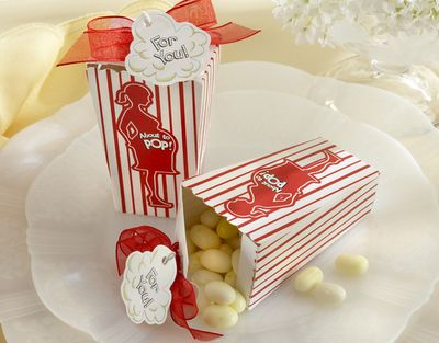 About to Pop favors. Mini popcorn boxes filled with popcorn flavored jelly beans.