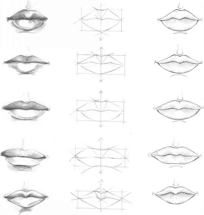 How to draw lips step by step with pencil frontal view for How to draw cute lips