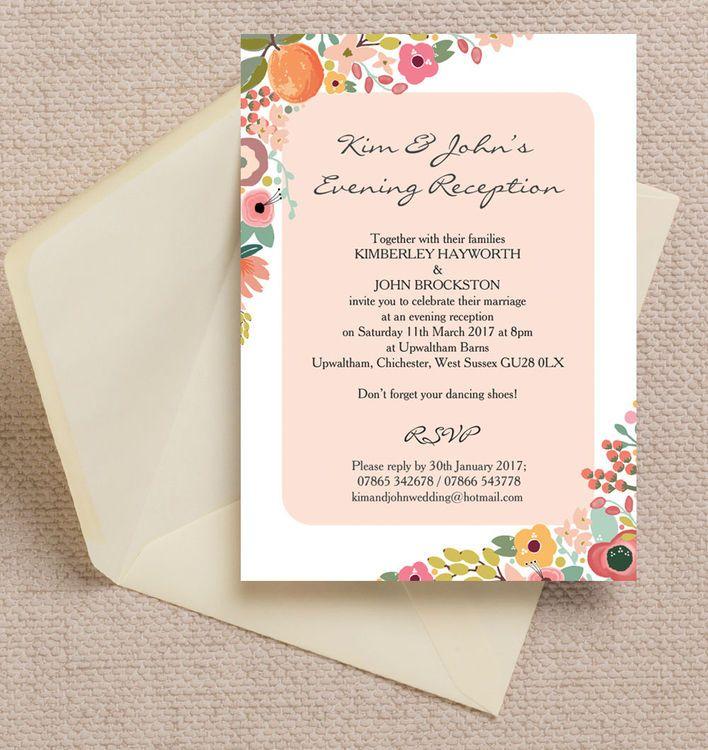 The 61 best beautiful evening wedding reception invitations images elegant floral evening reception invitation stopboris Images