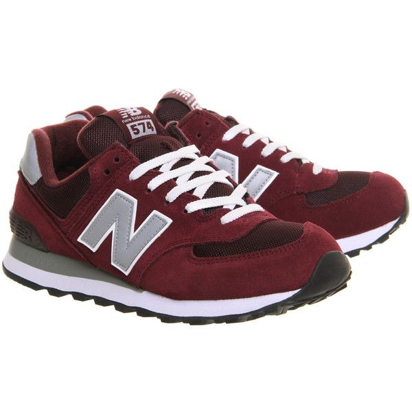 New Balance M574 Maroon Grey (320 BRL) ❤ liked on Polyvore featuring shoes