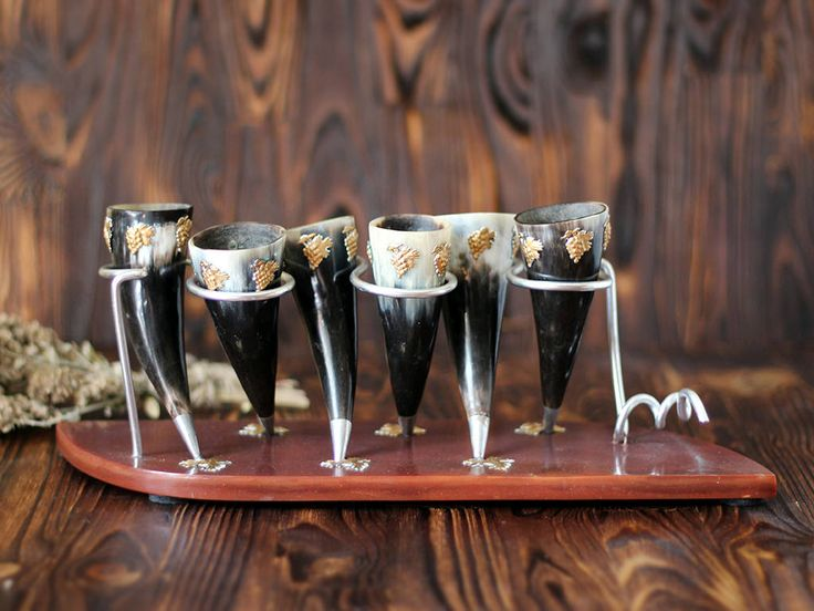 Vintage Set of 6 Viking Drinking Horn with holder harvest decor shots alcohol cup Georgian traditional Medieval wedding Thanksgiving decor by SmetanaVintage on Etsy