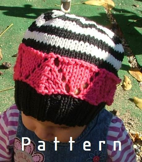 Knitting PATTERN ONLY for The Striped Black&White Hat $5.50 USD
