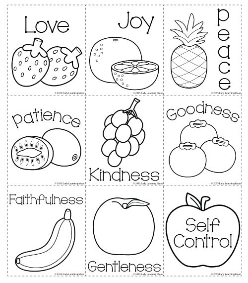 Fruit of the spirit matching and coloring cards freebie