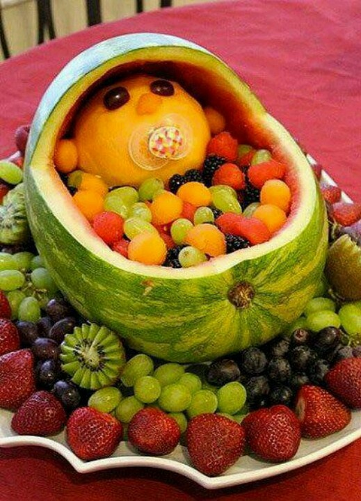 Baby shower watermelon bassinette fruit salad