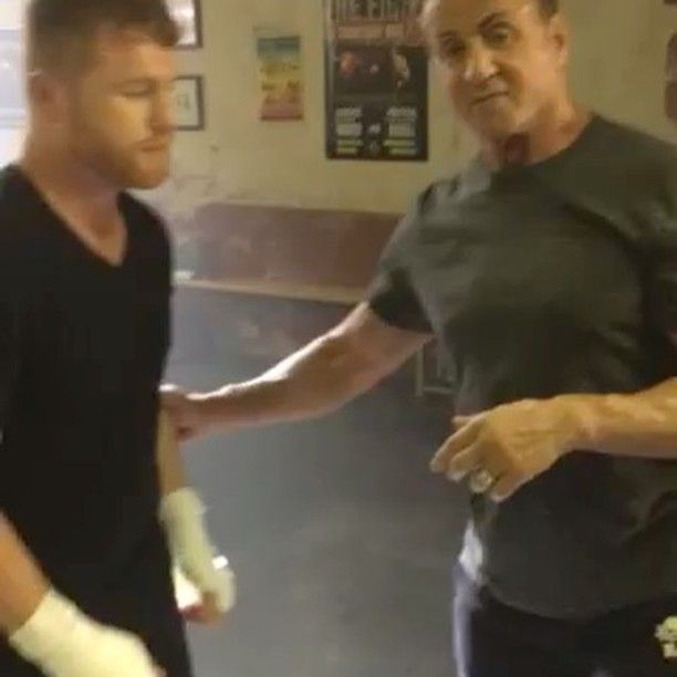 "35.3k Likes, 482 Comments - Sly Stallone (@officialslystallone) on Instagram: ""Movie boxing choreography with reigning world Champion Canelo Alvarez! Reenacting the scene when…"""