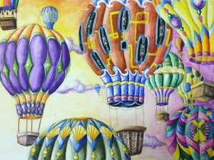 Hot Air Balloon Rhythm and Pattern Watercolor Pencil Painting Lesson | Create Art with ME