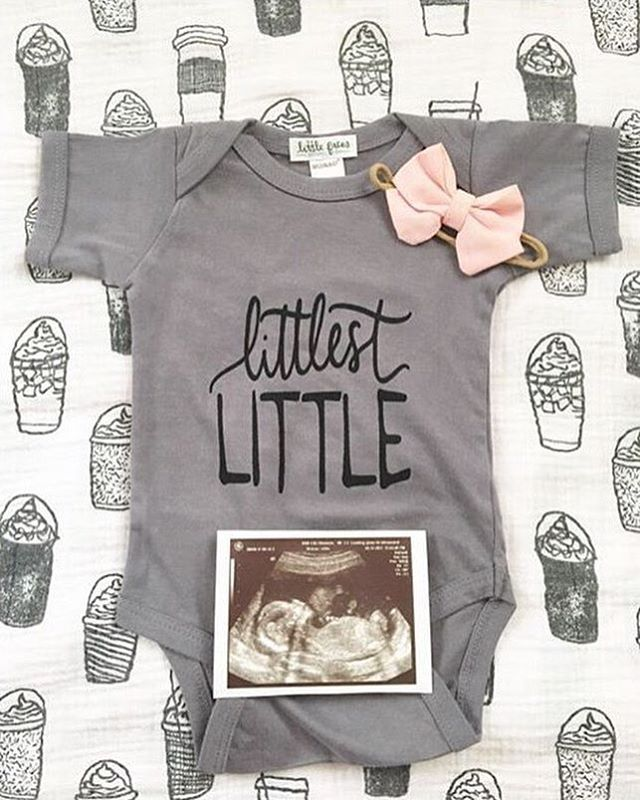 Little Faces Apparel baby announcement onesie - welcoming a new baby girl congrats @chai_b_latte - Gender reveal onesie, baby announcement idea, pregnancy announcement photo