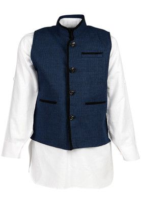 Party wear set for boys by Blazo. Crafted from linen in regular fit, it consists of a blue coloured waistcoat and a white coloured kurta that has full sleeve and a Nehru collar. A hoard of compliments is what your little one will fetch at the next party when he wears this party wear set from Blazo. A blue coloured, striped waistcoat on a crisp white kurta will have him looking adorably graceful, while the linen fabric will exude its own charm and make this set a comfortable wear.