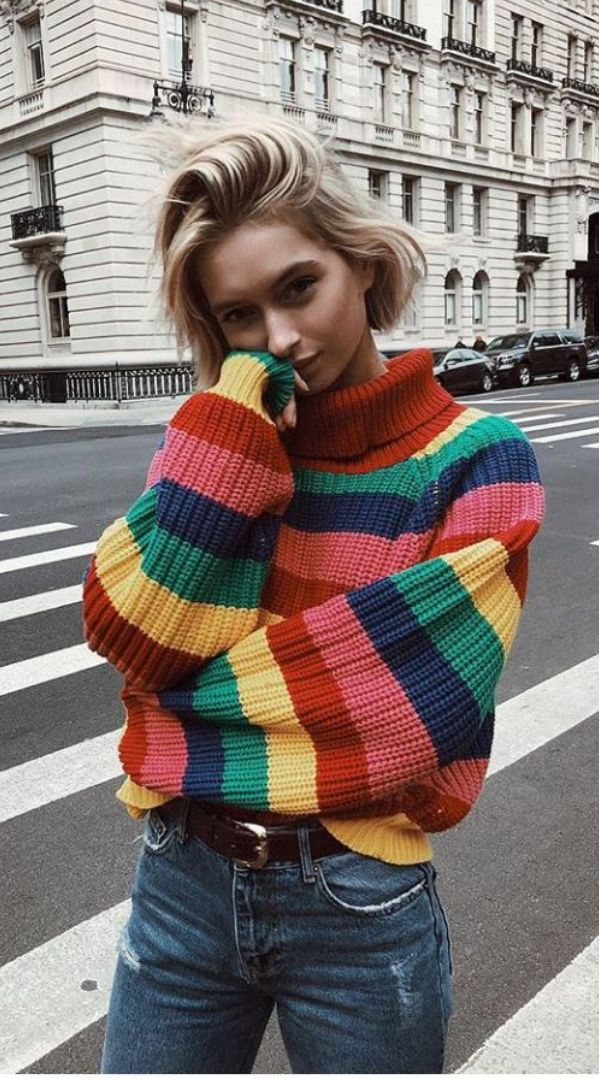 Colourful Stripe Knitting Women Sweater Sweet Turtleneck Loose Long Sleeve Pullover Sweaters M Retro Outfits, Vintage Outfits, Cute Outfits, Grunge Outfits, Stylish Outfits, Vintage Clothing Styles, Tumblr Outfits, 90s Grunge, Stylish Clothes
