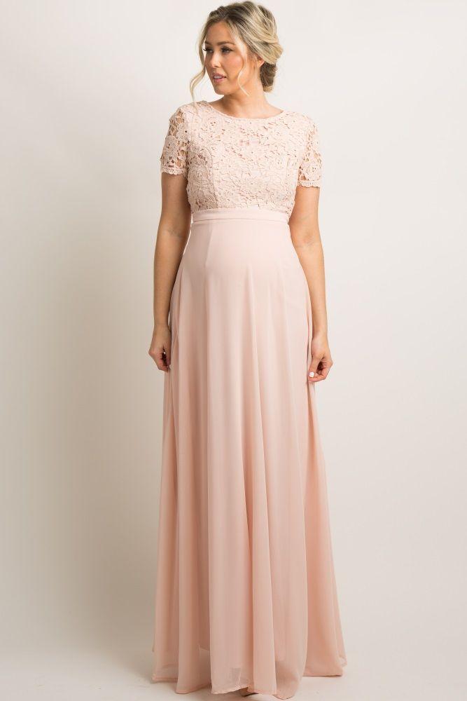 067bbcee2e4 Light Pink Crochet Chiffon Open Back Maternity Evening Gown ekkor ...