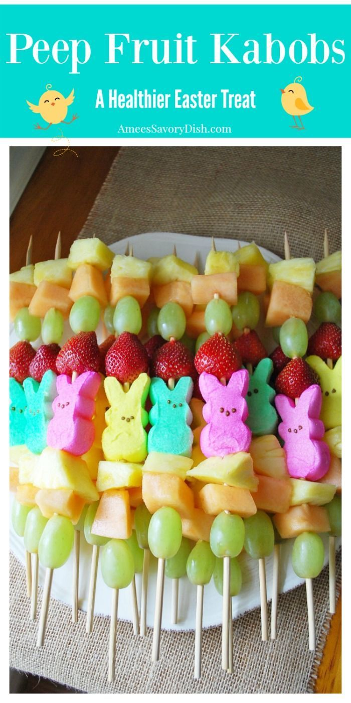How to make kid-friendly Peep fruit kabobs for Easter layering marshmallow Peeps and colorful fresh fruit. A great alternative to candy.