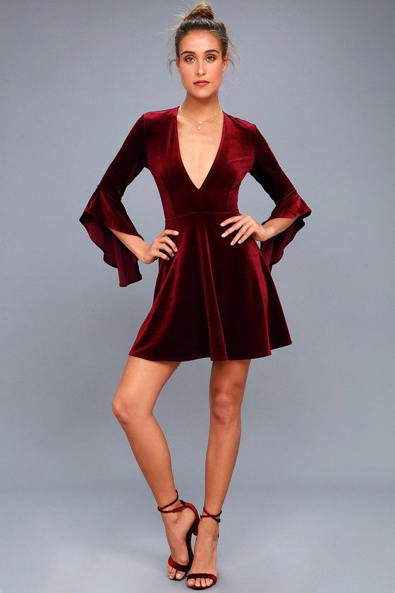 553c1a80c1 Wrapped in Luxe Burgundy Velvet Bell Sleeve Skater Dress 2