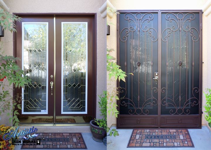 Before after installation of wrought iron security for Security screen doors for french doors