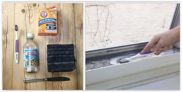 How To Clean Your Aluminum Window Tracks ... using baking soda & white vinegar ................ #DIY #cleaning #window #windowtrack #aluminum #howto #home #mold #dirt