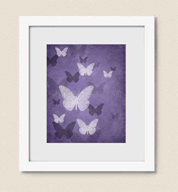 Deep Purple Wall Decor for Girls Room, 8 x 10 Bedroom Butterfly Wall Art, Nature Artwork Home Decor, (313) on Etsy, $16.00