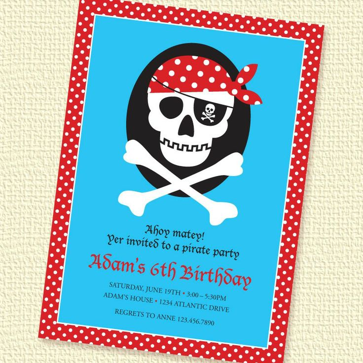 Pirate Skull Red Birthday Party Invitation Printable by paperspice, $16.00