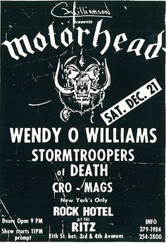 Motorhead - Wendy O Williams - Stormtroopers Of Death - Cro-mags
