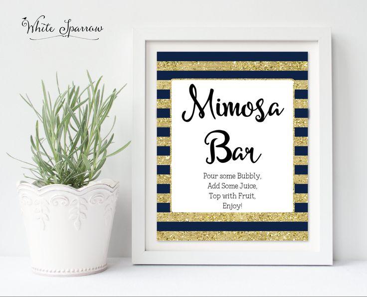 Mimosa bar, Mimosa Bar Sign, Mimosa Bar decor, Navy Blue and Gold Bridal Shower…