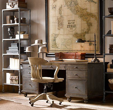 Maps, shelves, chair, organization.: Decor, Ideas, Restoration Hardware, Chairs, Maps, Vintage Offices, Desks, The Offices, Home Offices