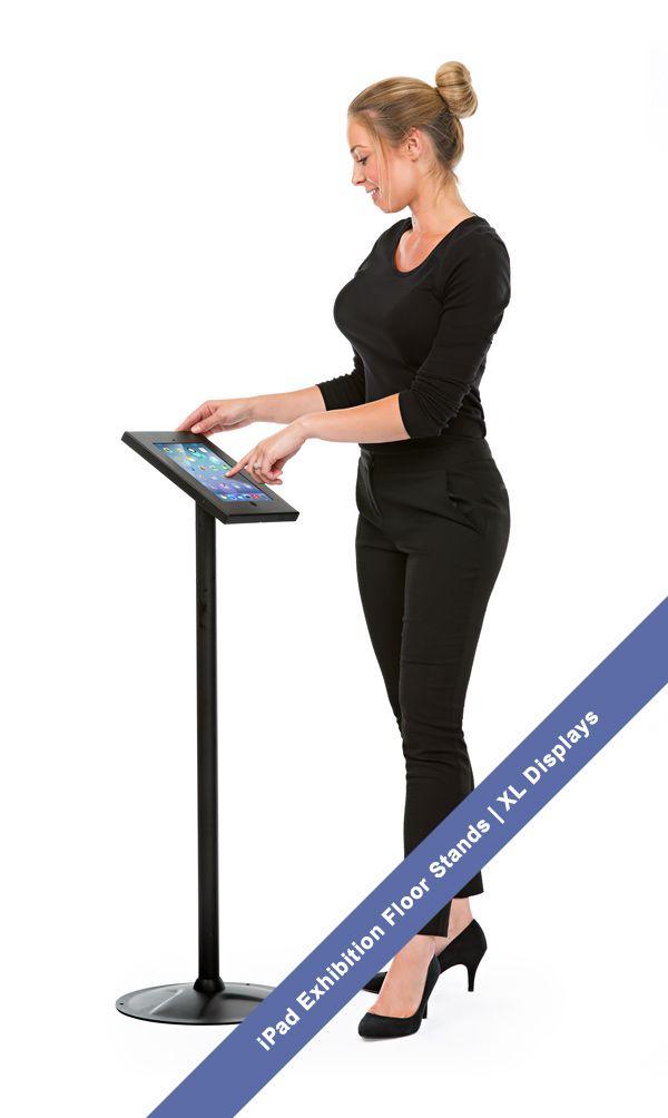 iPad Floor stands - waist height iPad exhibition display stand. XL Displays UK.  #ipadstands #ipadexhibitionstand