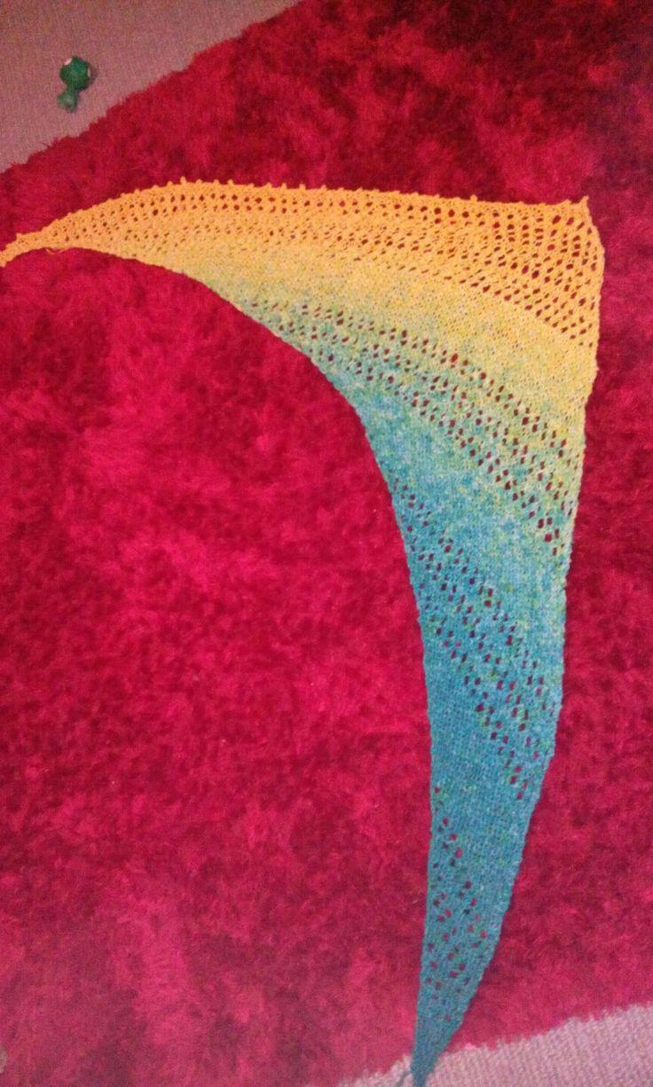 Aqua to yellow. Home spun & dyed
