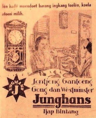 Jam dinding Junghans, (dari majalah Ekonomi Rakjat 1939)