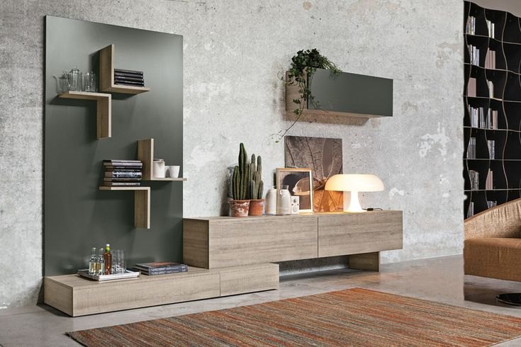 Contemporary style sectional wooden storage wall Magnetika living M04 Magnetika living Collection by Ronda Design