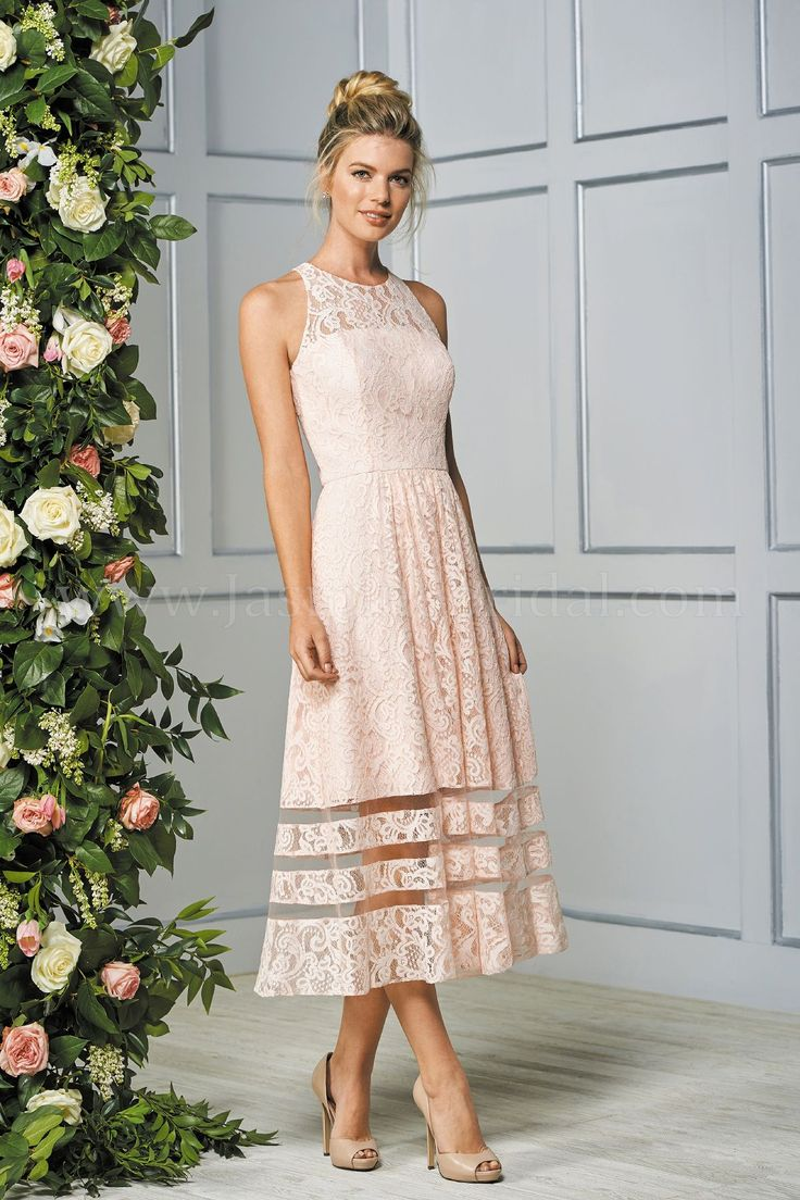 Jasmine Bridal | B2 Style B193063 in New Shell Pink | Lace | Tea Length Dress | Jewel Neckline | Beautiful Look