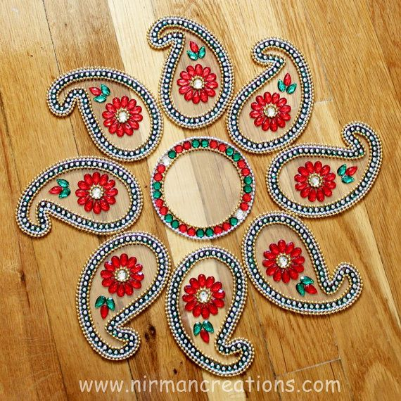 Indian wedding paisely table decor  Diwali Rangoli keri by Nirman, $28.00