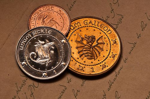 Sickles, Knuts and Galleons.