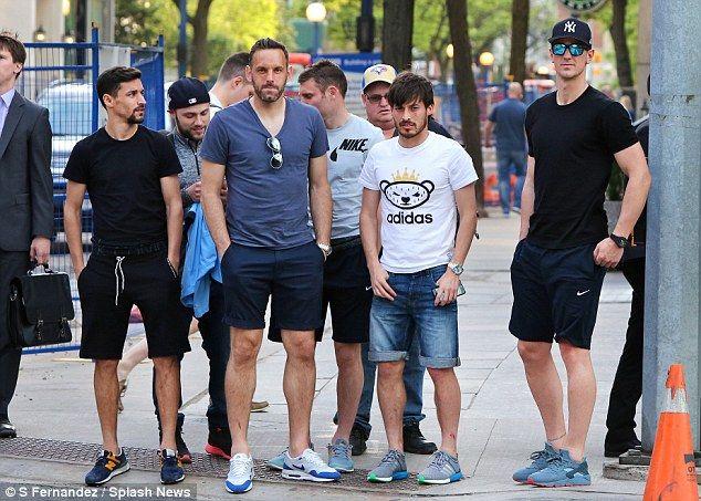 (From left) Jesus Navas, Richard Wright, James Milner, David Silva and Joe Hart take in To...