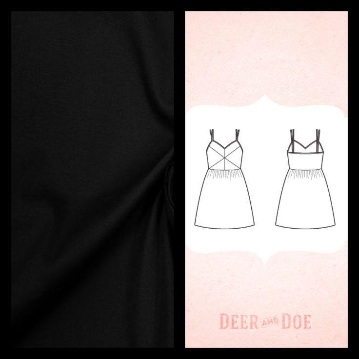 """Coton noir (ou bleu roi?) (à acheter (v. les coupons de st pierre) et 3m de biais doré (à acheter) Patron """"Robe Centaurée"""" de Deer&Doe (à acheter)"""