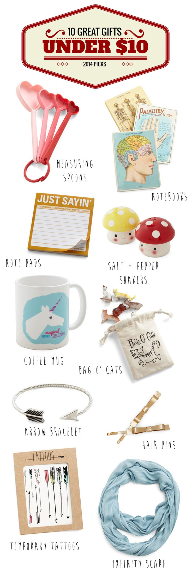 10 Gift Ideas Under 10.00 lots of fun gifts for co