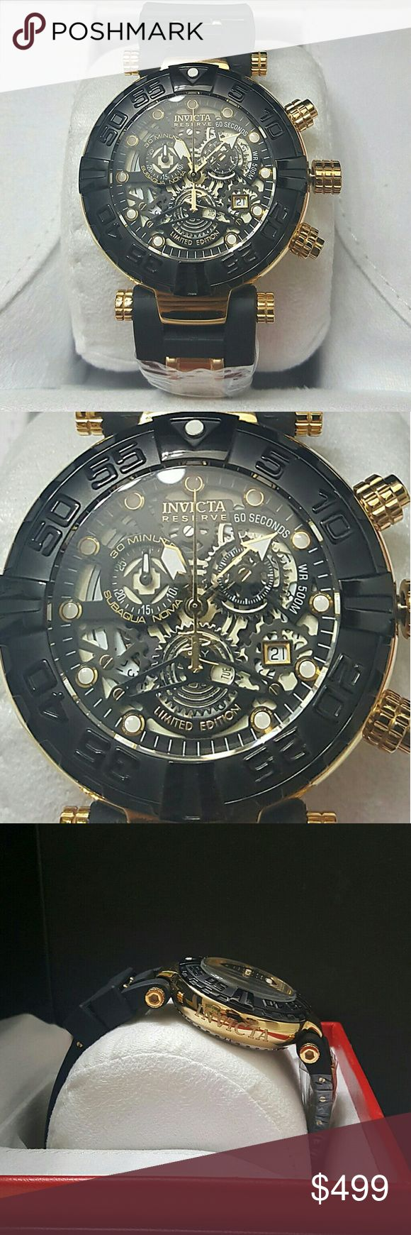Weekend sale,$6000 Invicta limited edition watch Weekend sale, firm price   Brand new Invicta Reserve limited edition black and black watch.  Firm price firm price  $499.00 . AUTHENTIC WATCH  . AUTHENTIC BOX  . AUTHENTIC MANUAL  . AUTHENTIC INVICTA CLOTH  .AUTHENTIC INVICTA WARRANTY CARD  SHIPPING  PLEASE ALLOW 2 BUSINESS DAYS FOR ME TO SHIPPED IT OFF.I HAVE TO GET IT FROM MY STORE.   Thank you for your understanding. Invicta Accessories Watches
