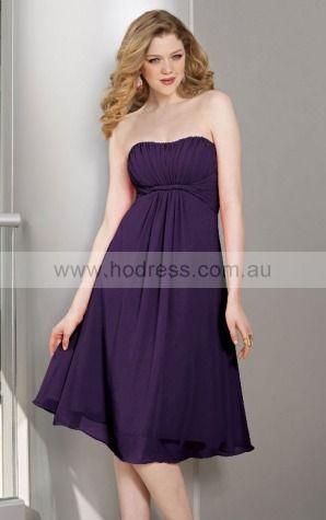 A-line Strapless Knee-length Chiffon Empire Evening Dresses gt1314--Hodress