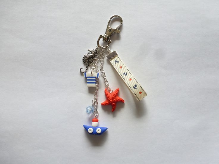 Bijou de sac air marin bateau, étoile de mer et marinière en fimo Porte clés : Porte clés par creattitude06