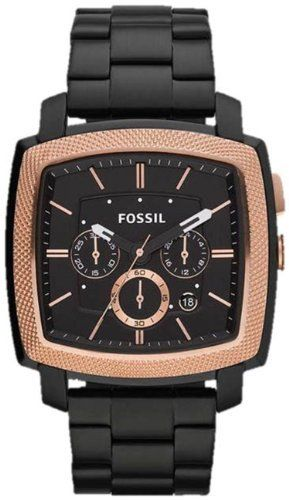 Fossil Machine Stainless Steel Watch Black with Rose Fossil. $132.00. Mineral Crystal. 44mm Case Diameter. Quartz Movement. 50 Meters / 165 Feet / 5 ATM Water Resistant. Machine Collection. Save 15% Off!