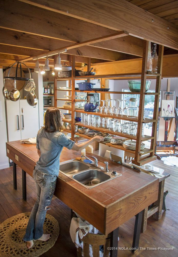 Rebecca Rebouche's rustic kitchen in the Covington woods