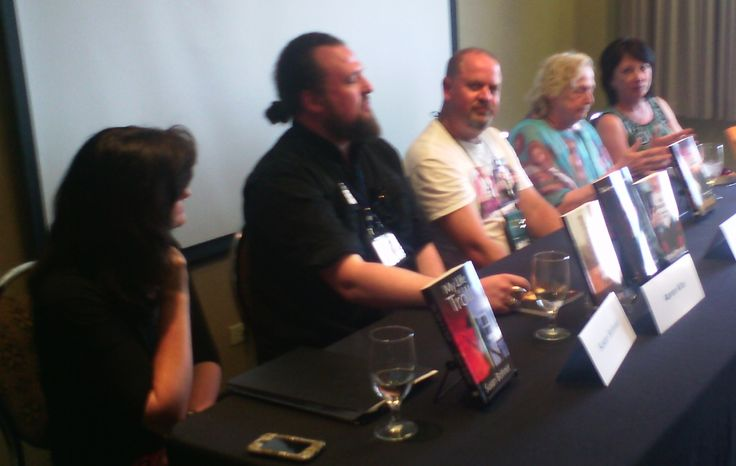 Five Rivers book launch at When Words Collide, Calgary, Aug 2014. Five of the six authors from the Spring / Summer line up were available at the conference to do 'teaser' readings and sign their latest releases. From L-R: Susan Bohnet, Aaron Kite, Mike Plested, Ann Marston and Susan MacGregor.